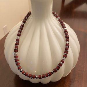 """17.5"""" wood and metal beaded necklace"""